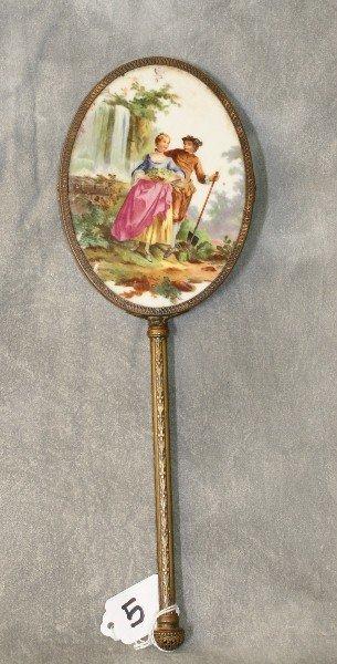 Bronze hand held vanity mirror