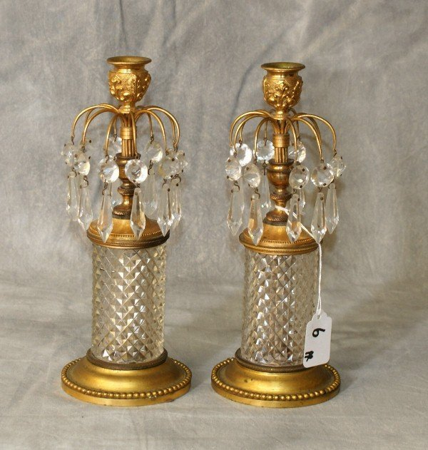 Baccarat style antique bronze and crystal candlesticks