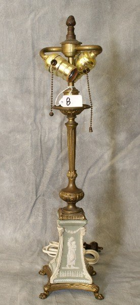 Bronze and wedgewood 2 light table lamp.