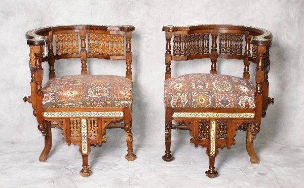 Pair late 19th C Moroccan corner chairs