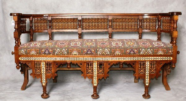 Late 19th C Moroccan inlaid  settee