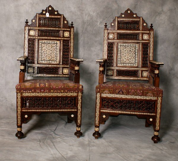 Pair 19th C Moroccan inlaid arm chairs