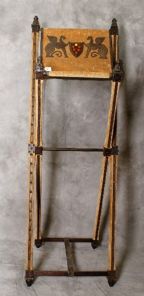 19th C Italian carved wood and upholstered bible stand.