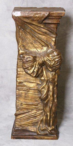 Bronze art nouveau ribbon form pedestal.