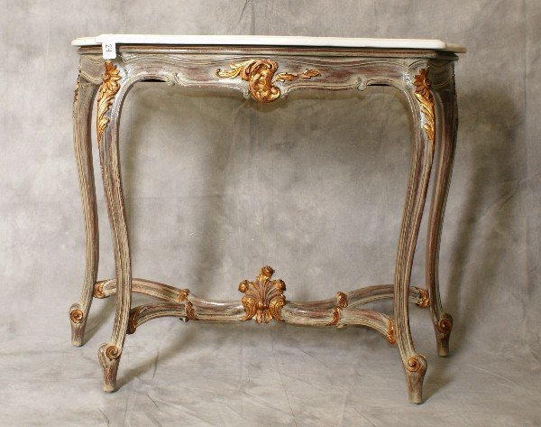 Marble top painted console with stretcher base.