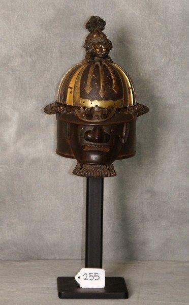 Edo period Japanese bronze & iron  Mempo mask & helmet