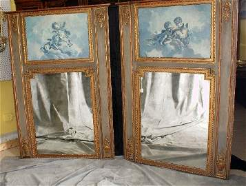 Pair 19th Century French trumeau mirrors