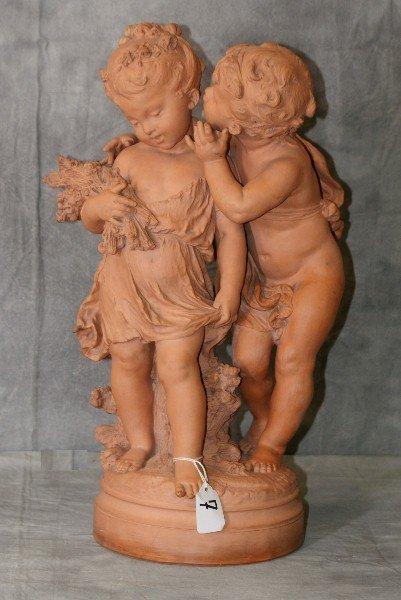 Antique terracotta statue of kids harvesting, Signed