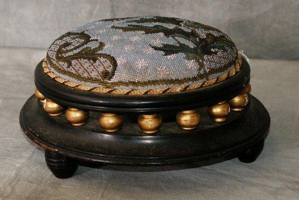 19th C ebonized & giltwood stool with beaded upholstery