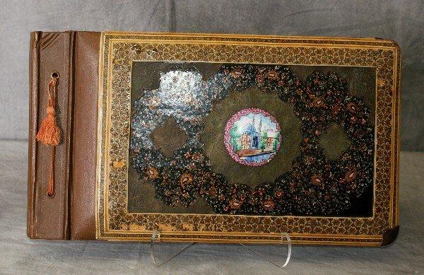 19th C Persian paint decorated photo album