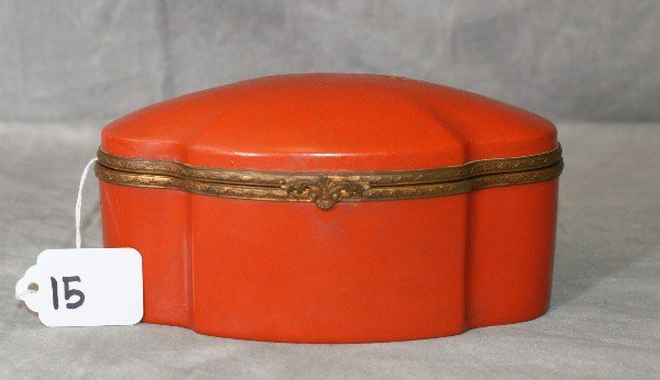 Bronze and porcelain hinge covered box