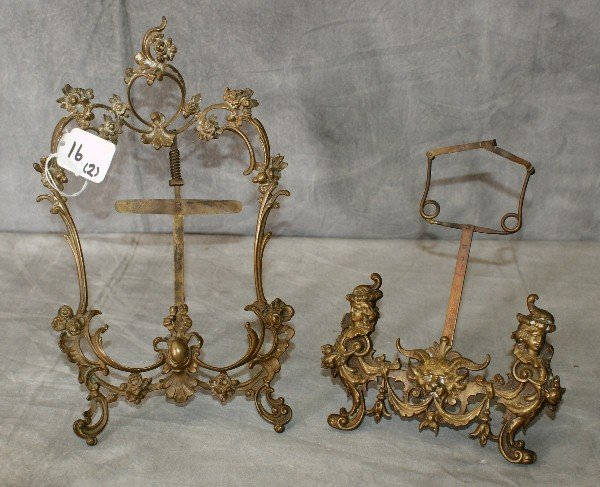 Two antique bronze picture frames
