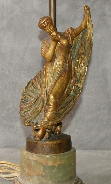 Bronze French figural lamp on  a onyx base signed