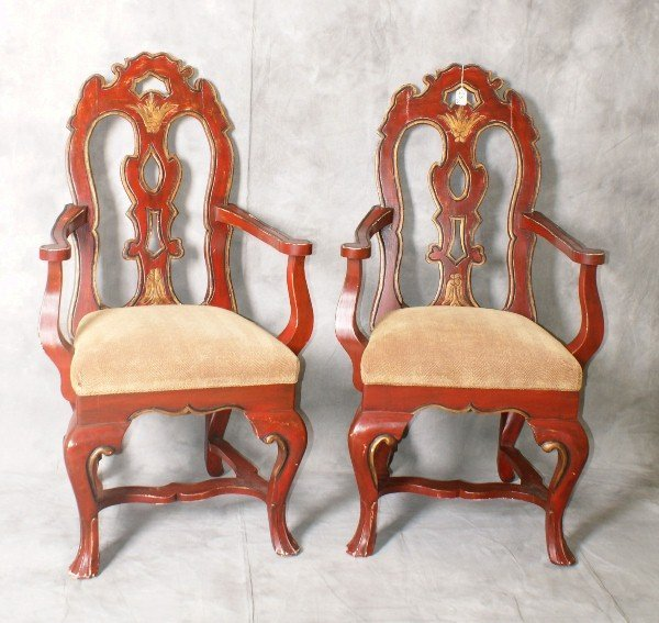 Pair Italian painted arm chairs