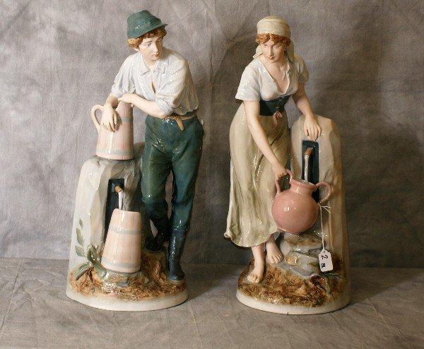 """Large Pair Royal Dux porcelain figures. H:24"""""""