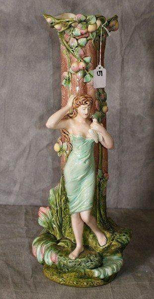 """Large porcelain figural vase , signed. H:21"""""""
