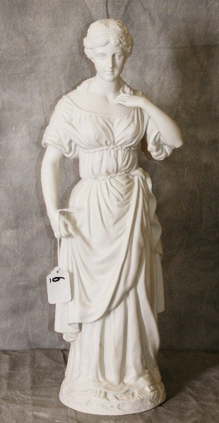 """Large parian figural statue of woman. H:18.5"""""""
