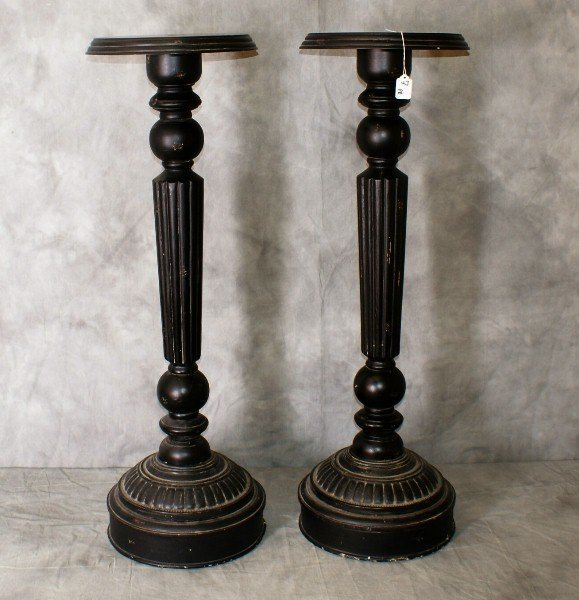 """Pair ebonized wood pedestals. H:40"""" D:13"""""""