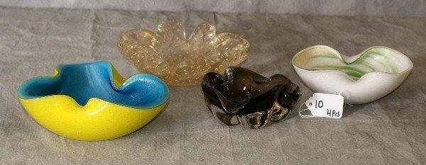 """Four Venetian glass shaped bowls. Largest D:7"""""""