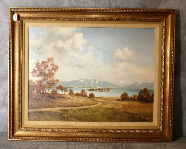 P. Ewert oil on canvas of a mountain landscape in a