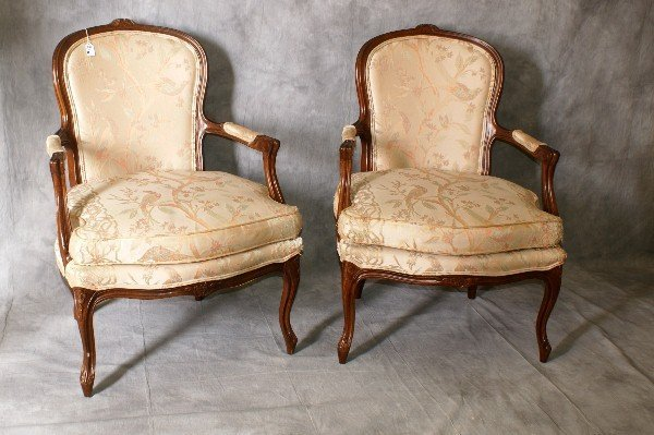 """Pair antique French upholstered arm chairs. H:37.5"""""""
