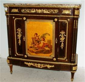 Befort Jeune, signed 19th C French marble top cabinet