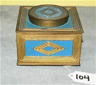Tiffany bronze and painted inkwell, signed on bottom