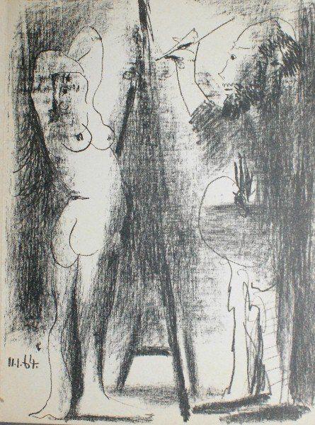 Pablo Picasso litho titled Le peintre et son modele