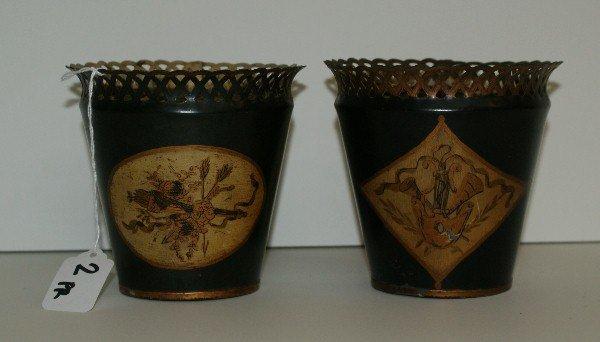 """Pair antique tole painted planters. H:4.5"""" D:4.75"""""""