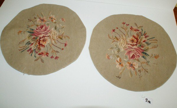 """Pair antique Aubusson tapestry panels. D:17"""""""