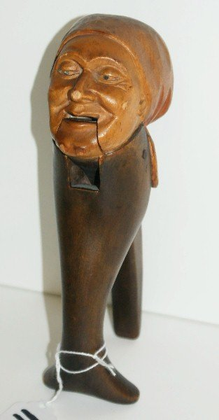 """19th C carved wood figural nut cracker of woman. H:7.5"""""""