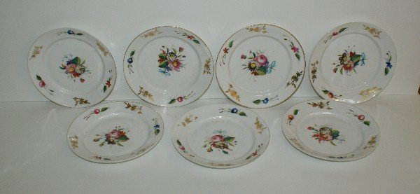 Set of 19th C Old Paris porcelain hand painted plates.