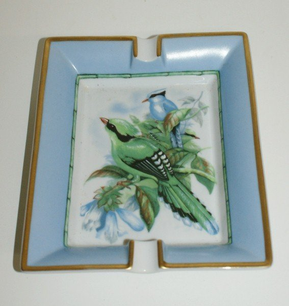 "Hermes porcelain hand painted ashtray. L:7.5"" W:6"""