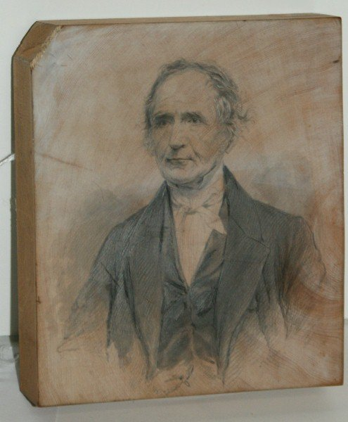 """19th c pencil drawing on block of wood. H:4.25"""" W:3.75"""""""