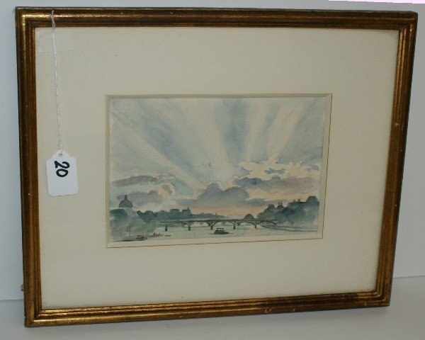 """19th C framed watercolor. Site size H:5.75"""" W:8.5"""""""