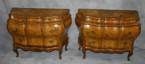 Pair 19th C Italian Olive wood serpentine commodes with
