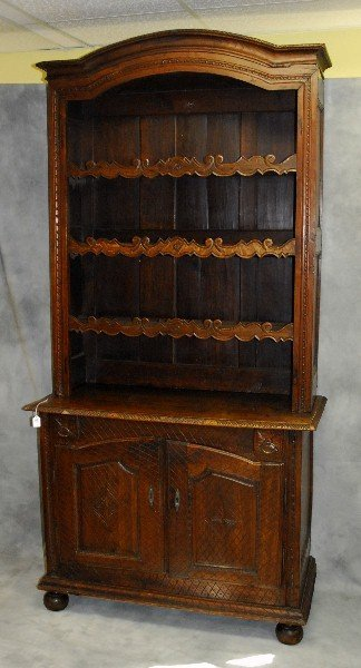 18th C Country French two piece open top plate cabinet