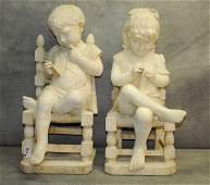 Pair of Cesare Lapini Marble Sculptures, Signed