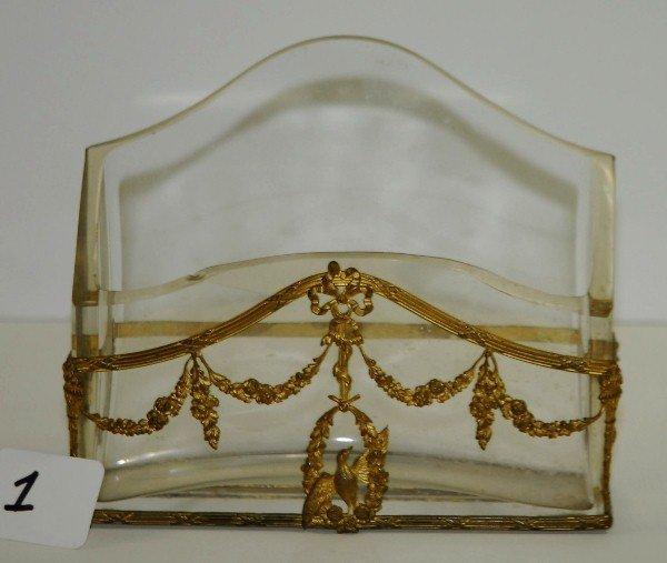 """Antique bronze and crystal letter holder. H:5.75"""""""