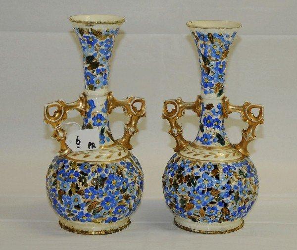 "Pair of Hungarian porcelain vases. H:10.75"""