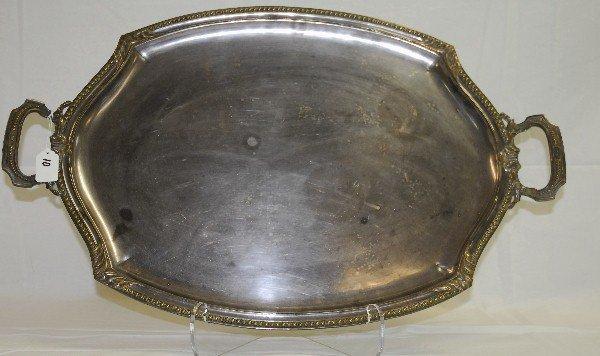 "Silver plate tray. L:28"" W:17.75"""