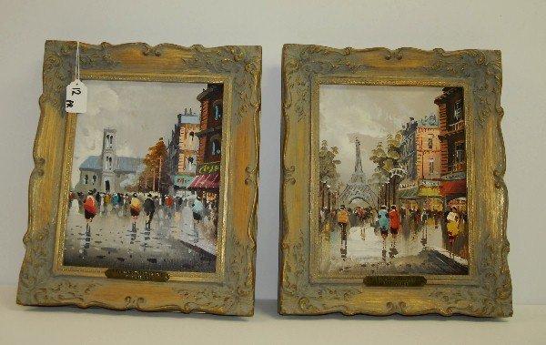 A. Divity , Pair paris street scenes oil on board in