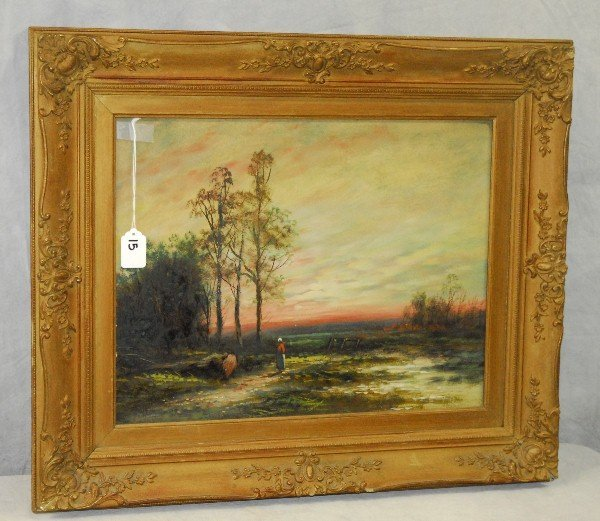 19th c oil on board in a giltwood carved frame. Site