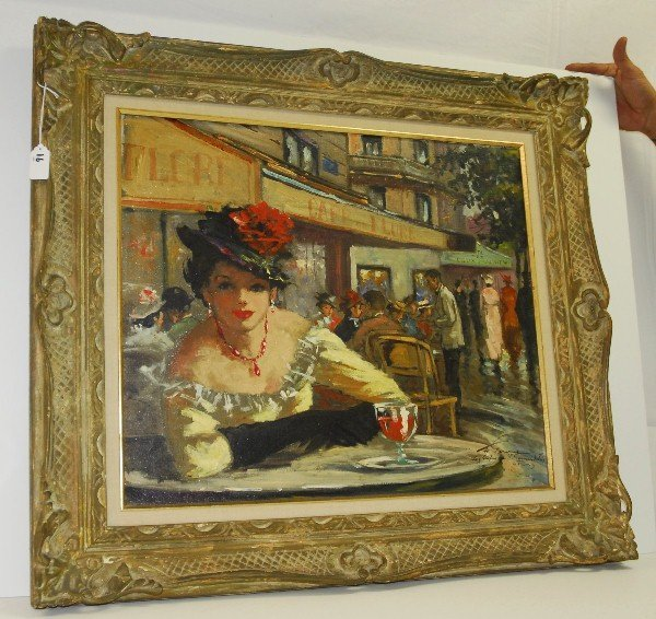 Jerome St Germain, oil on cnavas lady dining in carved