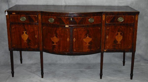 Early 19th C urn inlaid mahogany sideboard. H:38.5""