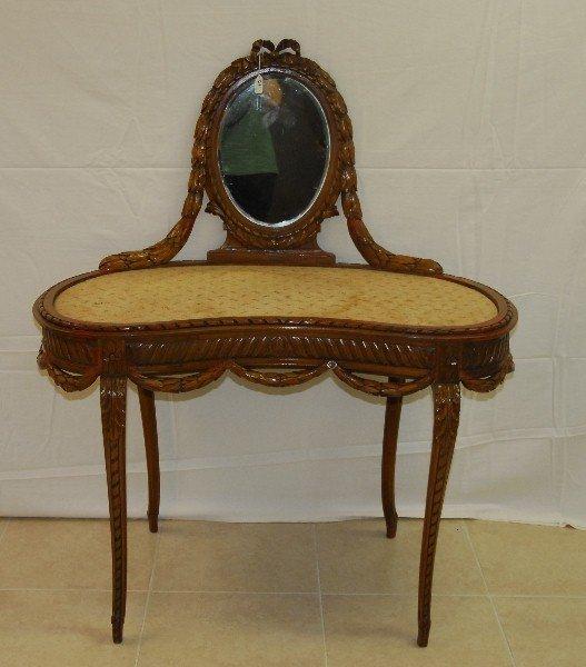 "Louis xv carved walnut vanity. H:49.5"" W:41.5"" D:21.5"""