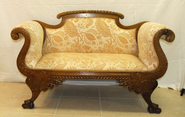 "Small 19th C Empire style settee. H:35"" L:57"" D:24"""