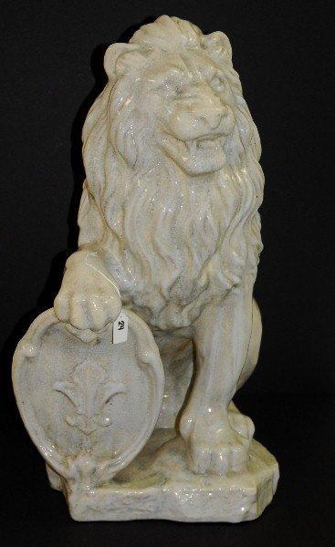 """Large glazed terrecotta lion. H:30"""" W:16"""" D:21.5"""""""