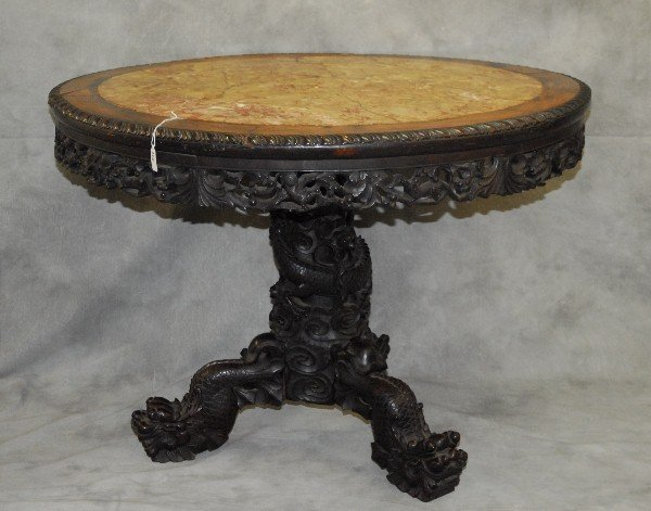Very Large 18th/19th C Chinese carved wood marble top