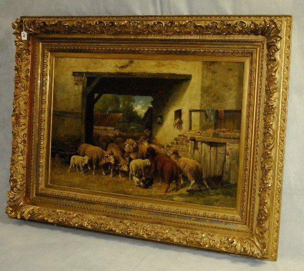 Louise J. Guyot oil on canvas of sheep in  carved frame